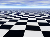 Chess black and white infinite floor — Stock Photo
