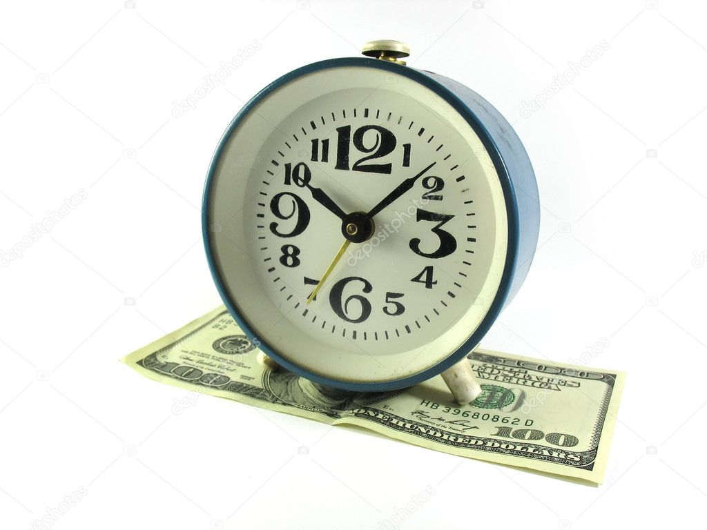 Time is money - alarm clock on a bux, all on white background  Stock Photo #2078069