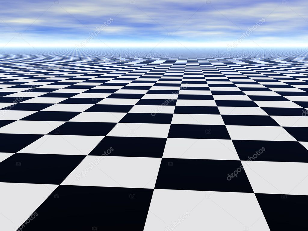 Abstract chess black and white Infinite floor and cloudy blue sky — Stock Photo #2079364
