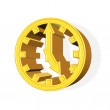 Stock Photo: 3D rendered golden clock symbol