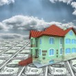 A 3D house on money and cloudy sky — Stock Photo