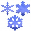 Set of blue, glass effect snow flakes — Stock Photo