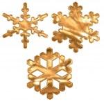 Set of gold metal effect snow flakes — Stock Photo