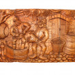 Ancient vintage wooden Bas-relief — Foto de Stock