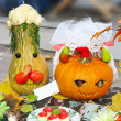 Helloween vegetables pumpkin composition - 图库照片