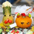 Photo: Helloween vegetables pumpkin composition