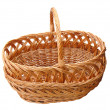 Empty wooden basket isolated over white — Stock Photo
