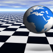 3D world globe jumping on abstract — Stock Photo