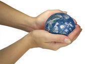 Human lady hands holding earth globe — Stock Photo