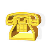3D golden phone symbol — Stock Photo