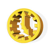 3D rendered golden clock symbol — Stock Photo
