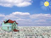 A 3D concept house on money — Stock Photo