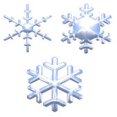 Set of chrome metal effect snow flakes — Stock Photo