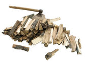 Stack of firewood with an axe — Stock Photo