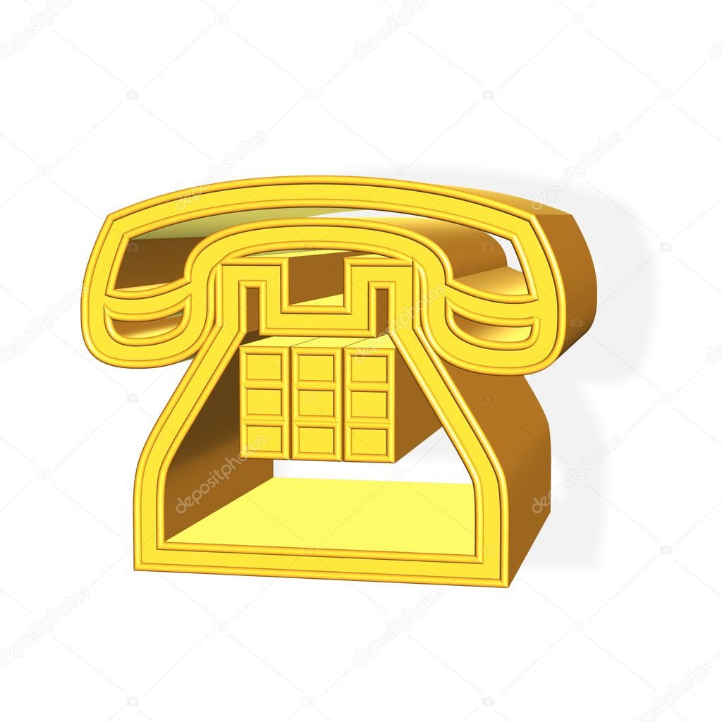 3D rendered golden phone symbol over white background — Stock Photo #2083452