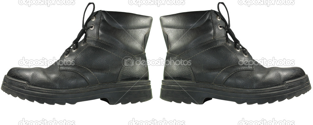 Closeup view of army boots isolated on white background — Stock Photo #2084582