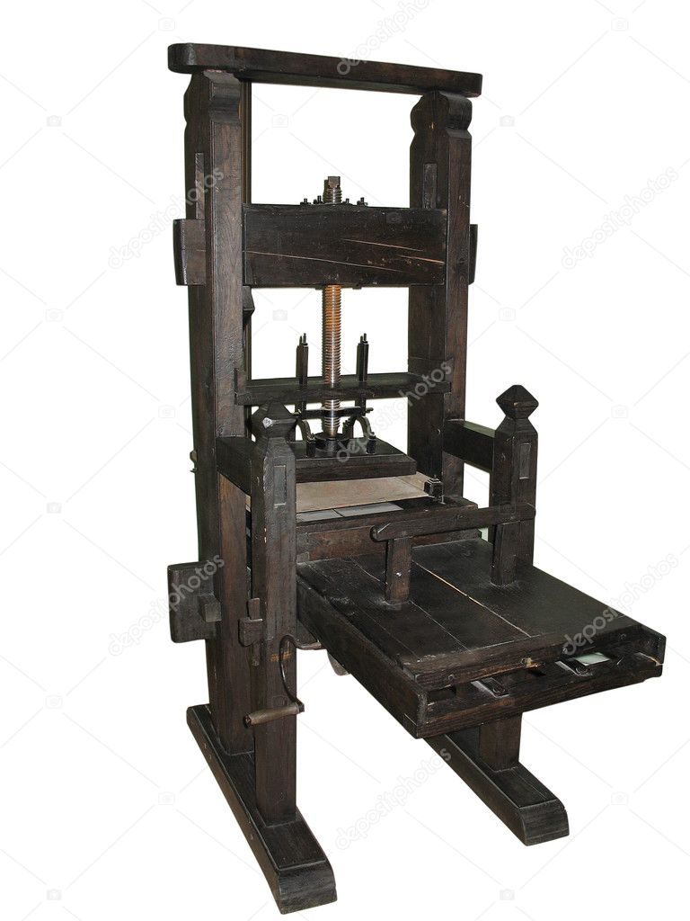 Antique black letterpress restored to working condition, isolated on white — Stock Photo #2088483