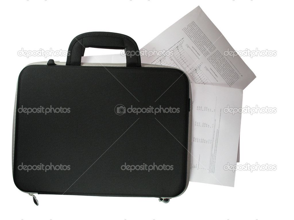 Black briefcase with business paper documents in it isolated over white background — Stock Photo #2088901