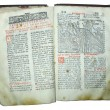 Aged old religious opened book — Foto Stock