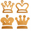 Four abstract golden pattern crown — Stock Photo