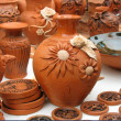 Handmade clay pots In a workshop - Stock Photo