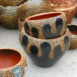 Ornated clay ceramic pattern pot — Stock Photo