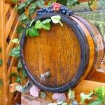 Vintage handmade wooden wine barrel — Stock Photo