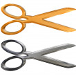 Golden and chrome silver scissors — Stock Photo