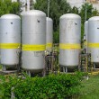 Industrial chemical tanks at power plant — Stock Photo
