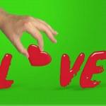 Human lady hand building love word — Stock Photo