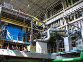 Machinery, tubes and steam turbine — Stock Photo