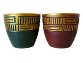 Ornated red and green ceramic pot — Stock Photo