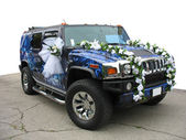 Luxury dream wedding car blue ornate — Stock Photo