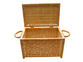 Wickerwork open wood basket isolated — Stock Photo