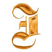 Gyllene mönster gotiska bokstaven i — Stockfoto