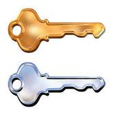Satz von goldenen und silbernen 3d schlüssel — Stockfoto