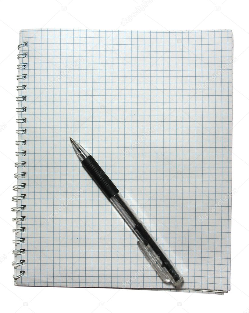 Notebook with black pen isolated on white — Stock Photo #2257180