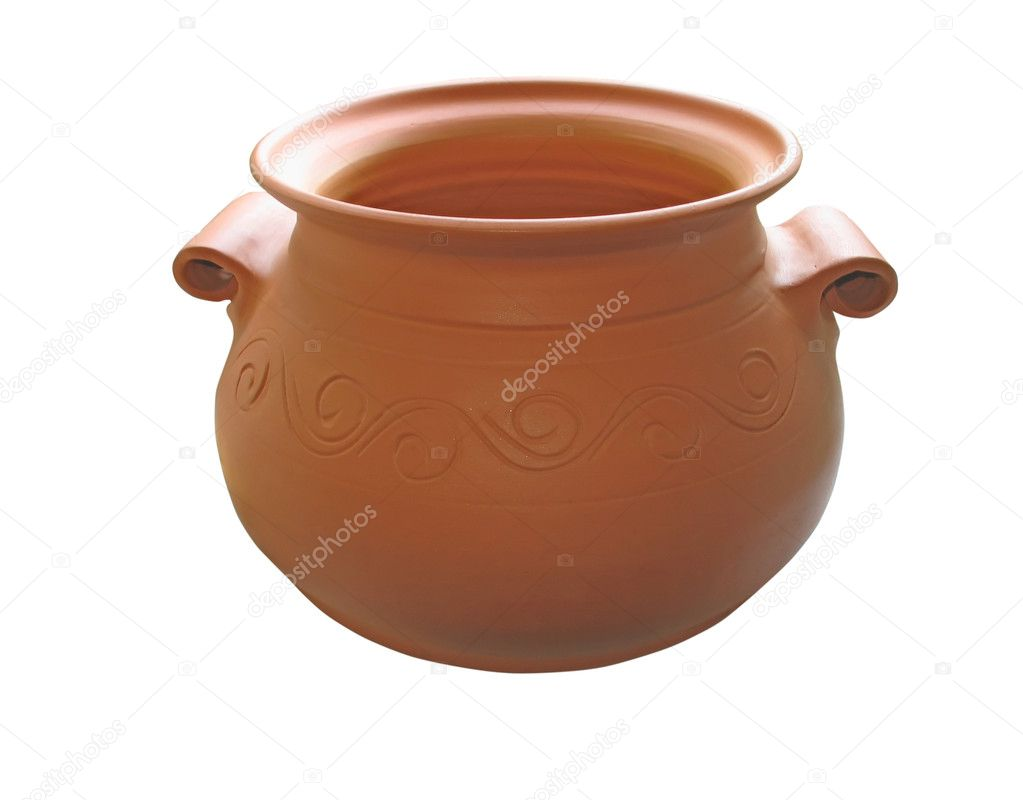 Ceramic clay pottery isolated on white background — Stock Photo #2257283
