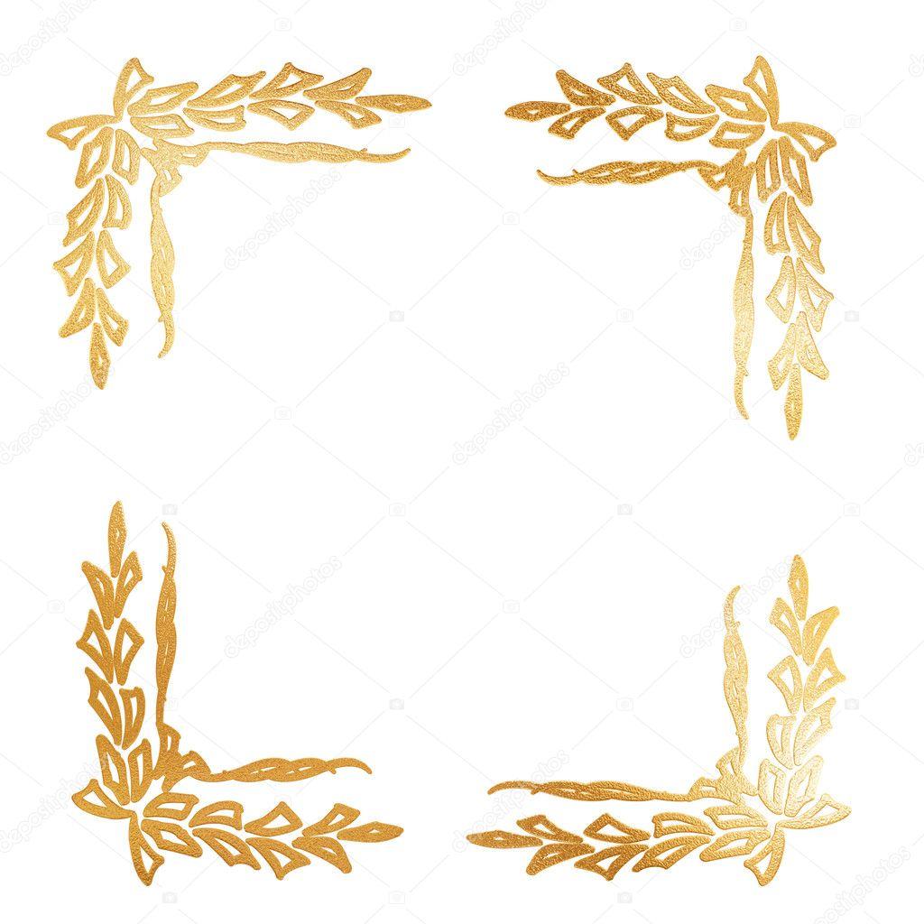 Descargar - Concepto abstracto marco floral dorado — Imagen de stock ...