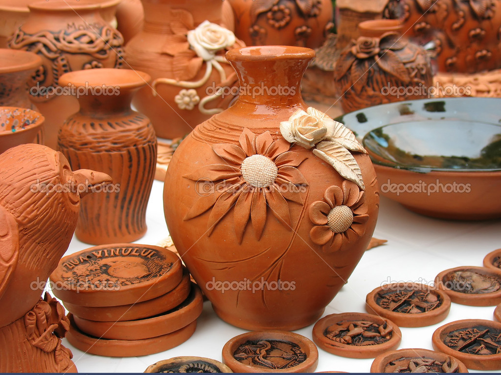Handmade clay pots In a workshop from Europe — Stock Photo #2257855