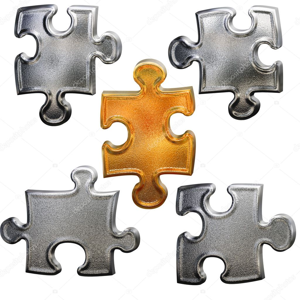 Golden ang chrome metallic patter puzzle over white background — Stock Photo #2258056