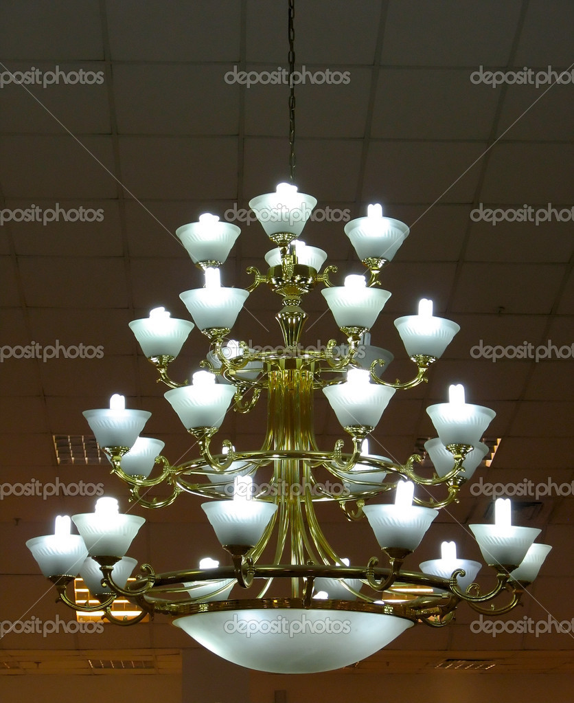 Ornate chandelier luster in a theater interior detail — Stock Photo #2258323