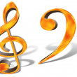 Stock Photo: Golden pattern musical notes concept