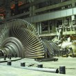 Steam turbine during repair, night scene — Stock Photo