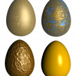Four golden patterned easter eggs — Stock Photo