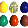 Six easter eggs different colors — Stock Photo