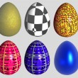Six abstract patterned easter eggs — Stock Photo