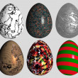 Stock Photo: Six abstract patterned easter eggs