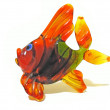 Coloured glass fish isolated over white — Stock Photo