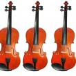 Three classic violins isolated on white - Stock Photo
